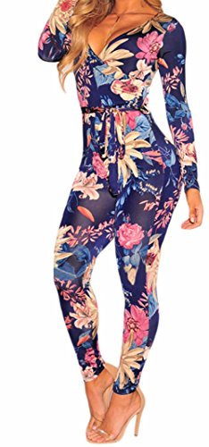 Surfywin Women's Floral Faux Wrap Long Sleeve Jumpsuit Fashion Rompers Su-LC64357-pants-Navy - Nearest Coral Shop