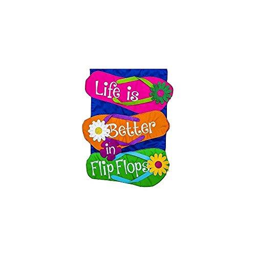Evergreen Life is Better in Flip Flops Applique Garden Flag, 12.5 x 18 inches