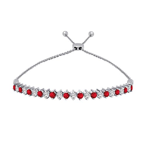 OMEGA JEWELLERY Sterling Silver Round Ruby & Diamond Tennis Style Adjustable Bolo Bracelet (1.65 Ct)
