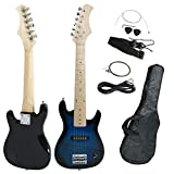 Smartxchoices 30' Mini Kids Blue Electric Guitar Bundle Kit Bass Guitar for Beginners with Gig Bag,Cable,Strap,Picks Combo Package Accessories Children Holiday Gifts (Blue, No Amp)