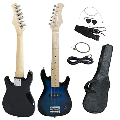 Smartxchoices 30″ Inch Kids Electric Guitar Bundle Set Beginner Kit with Gig Bag,Cable,Strap,Picks More Than Toy Guitar Combo Accessory Holiday Gift (Blue, No Amp)