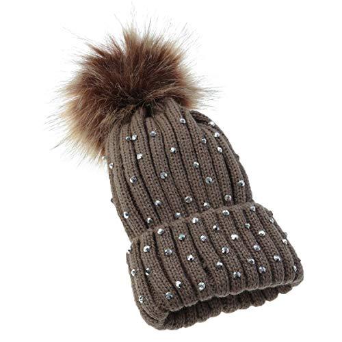 Children's Drill Wool Hat Big Hair Ball Autumn Winter Knit Hat Baby Hat Baby Cap (Coffee) (Hat Wool Drill)