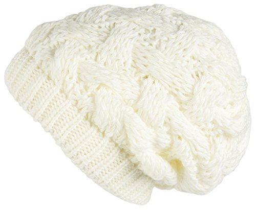 White Ladies Beanie - Lilax Cable Knit Slouchy Chunky Oversized Soft Warm Winter Beanie Hat White