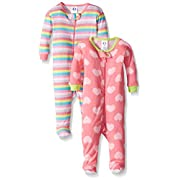 Gerber Baby Girls 2 Pack Footed Sleeper, Hearts/Stripes, 6 Months
