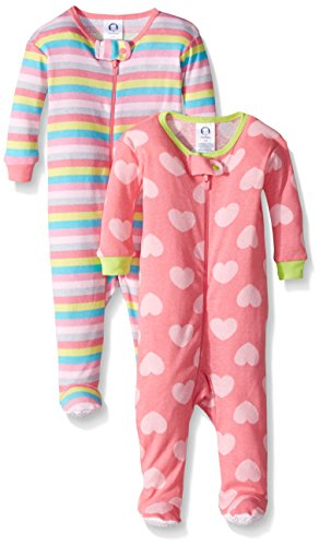 Gerber Baby Girls 2-Pack Footed Unionsuit, Hearts/Stripes, 6 Months