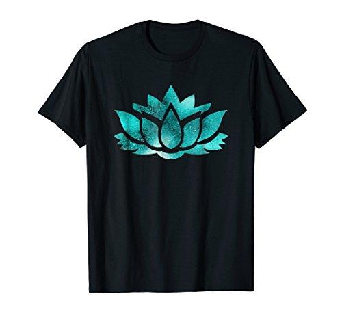 Lotus Flower Yoga Spiritual Dreamy Teal Colorful T Shirt ()
