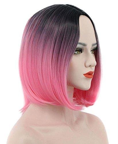 (Karlery Women Straight Short Bob Black Gradient Pink Wig Dark Root Fasion Cosplay Party)