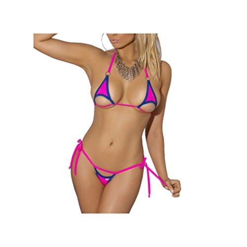 Halter Neck Swimsuit Hollow Micro Mini Bikini Set 2 Pieces (3) (Sexy Micro Mini Thong)