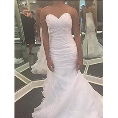 Women's Sweetheart Ruched Organza Bridal Gown Mermaid Wedding Dress for Bride at Women's Clothing store