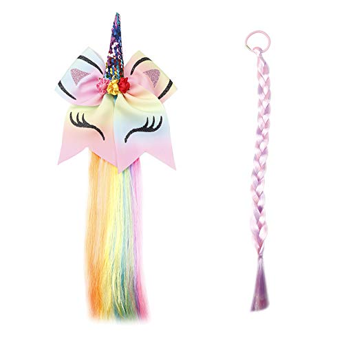 Princess Dress Wigs Unicorn Hair Bows Rainbow Braided Costume Accessories for Girls Cosplay Party 2PCS