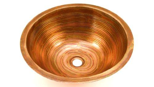 Round Copper Bathroom Sink With Flat Rim, 17 x 6 Inches,Gordo, Finish Fuego