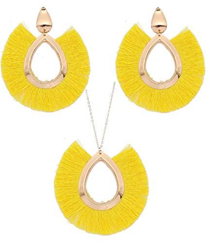 Tuoke-peri Bohemian Tassel Earrings Y Necklace Jewelry Sets Gold Hoop Fringe Drop Earrings Women Necklace with Long Adjustable - Earrings Fringe Necklace