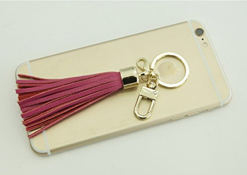 Leather Tassel Charm Women Handbag Wallet Accessories Key Rings (Hot-pink) by Beautyou (Image #4)