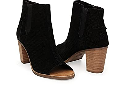 TOMS New Majorca Peep Toe Bootie Black Suede Perf Leaf 11 Womens Shoes