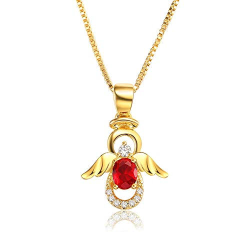 - SKA Jewelry Angel Necklace for Girls Women Red Cubic Zirconia Lovely Angel with Wings Pendant Chain Necklace Adjustable 20