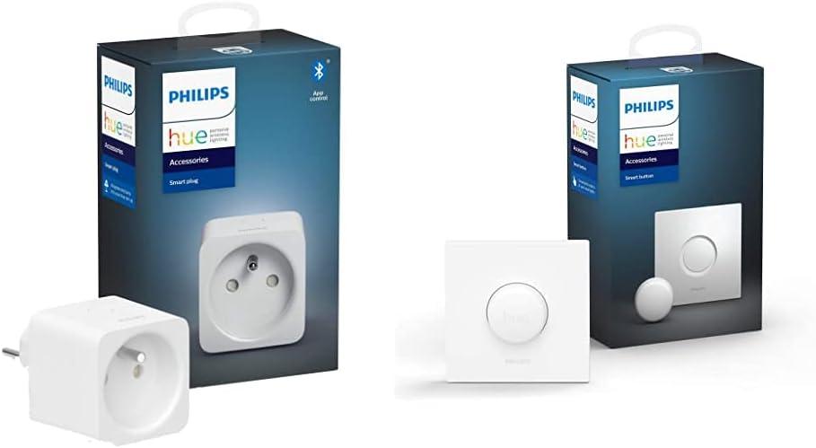 Philips Hue Prise Connectée [Classe énergétique A] + Philips Hue Smart Button...