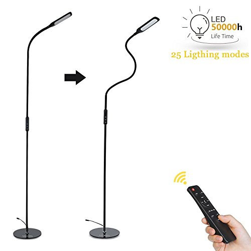 NACATIN LED Floor Lamp for Reading, Dimmable Gooseneck Standing Lamp (5 Color Modes, 5-Level Dimmer, 9W, Time Functioner, Touch & Remote Control Floor Light for Living Room, Bedroom, Office) Black