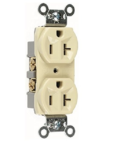 (Pass & Seymour CR20-I 20A 125V Narrow Body Duplex Receptacle Straight Blade Commercial Grade, Ivory (10 Pack))