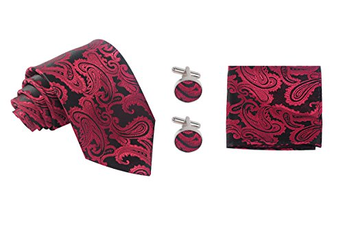 Tie and Tip Handkerchief Clip Birthday Red Woven Neck Him Gifts Tie Wine Set Mens Kapmore as for Cufflinks 4nzwqdXn8x