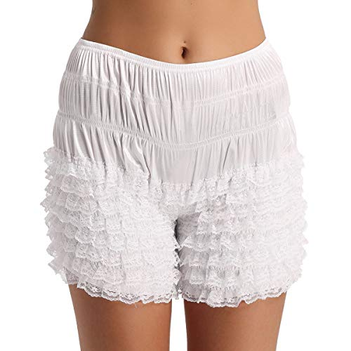 ACSUSS Women's Tiered Ruffle Panties Dance Bloomers Sissy Booty Shorts Pettipants White Large