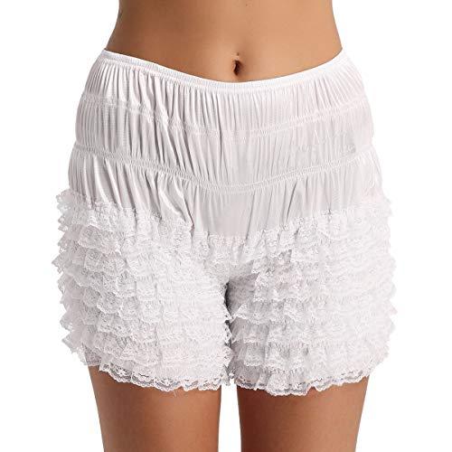 inlzdz Women's Ruffle Panties Bloomers Dance Booty Shorts Pettipants Sissy Victorian Lingerie White Medium -