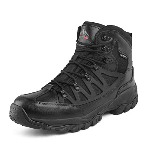 09 Boots - NORTIV 8 Men's Waterproof Hiking Boots Outdoor Lightweight Mid Trekking Shoes JS19002M Black Size 9 M US