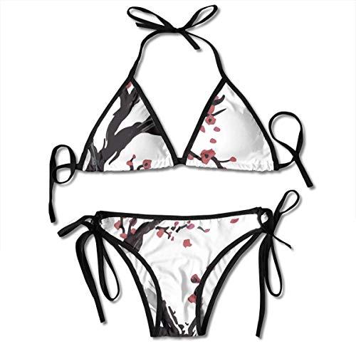 Eplus Women's Cherry Blossom Bikini Adjustable Swimwear Bra Swimsuit Sexy 2 Piece Set
