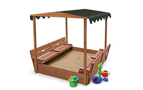 Canopy Sandbox with Fold Bench Seats for Children - Very Sturdy and Strong Child Outdoor Backyard Toy - Covered and Convertible Play Area for Kids - Solid Wood Construction - Fun for Your Kids