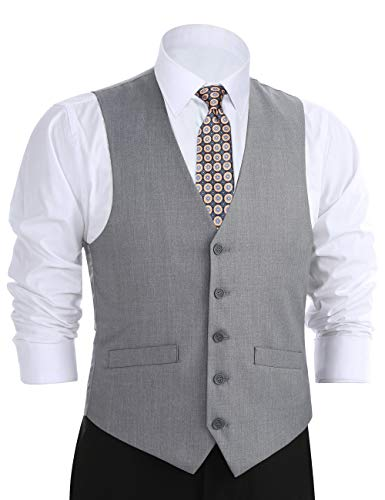 Classic Vest - CHAMA Men's Formal Classic Fit Business Dress Suit Button Down Vest Waistcoat (52 Regular, Light Grey)
