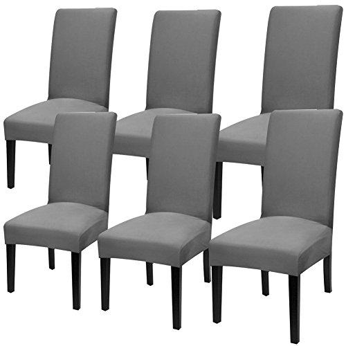 YISUN Modern Stretch Dining Chair Covers Removable Washable Spandex Slipcovers for High Chairs 4/6 PCs Chair Protective Covers (Dark Grey/Solid Pattern, 6 PCS)
