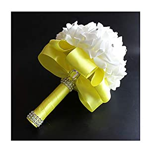 Wedding Bouquet, Holding Flowers Crystal Roses Pearl Bridesmaid Wedding Bouquet Bridal Artificial Silk Flowers 19