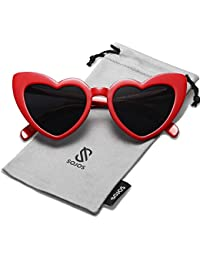 SOJOS Heart Shaped Sunglasses Clout Goggle Vintage Cat Eye Mod Style Retro Glasses Kurt Cobain SJ2062 with Red Frame/Grey Lens
