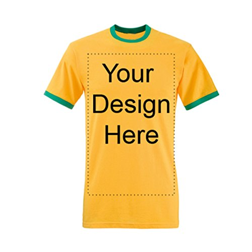 Add Your Own Personalized Message or Image Custom Text Name Men Ringer T-Shirts, Mens-Sunflower/Kellygreen-XXLarge