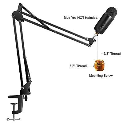 InnoGear Microphone Suspension Mic Clip Adjustable Boom Studio Scissor Arm Stand for Blue Yeti Snowball Microphone and Blue Yeti Nano
