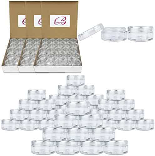 (Quantity: 200 Pieces) Beauticom 5G/5ML Round Clear Jars with Screw Cap Lid for Herbs, Spices, Loose Leaf Teas, Coffee and Other Foods - BPA Free