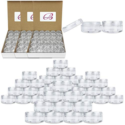 Quantity 200 Pieces Beauticom 5G 5ML Round Clear Jars with Screw Cap Lid for Herbs, Spices, Loose Leaf Teas, Coffee and Other Foods – BPA Free