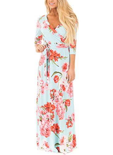 Women Fashion Floral Sun Long Dress(Green) - 2
