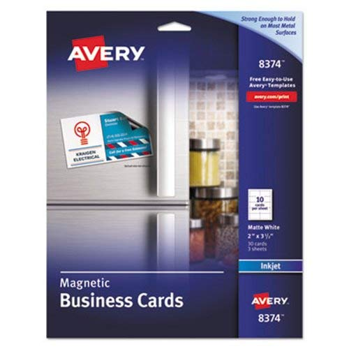 Avery 8374 Magnetic Business Cards, 2 x 3 1/2, White, 10/Sheet, 30/Pack ()