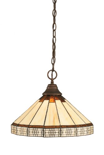1 Light Honey Pendant - Toltec Lighting 10-BRZ-964 One-Light Chain Pendant Bronze with Honey and Brown Mission Tiffany Glass, 14-Inch