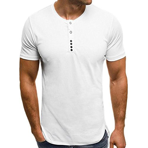 als Fashion Mens Henley Shirts Summer Casual Pure Color Round Collar T Shirt Tops(2XL, White) ()