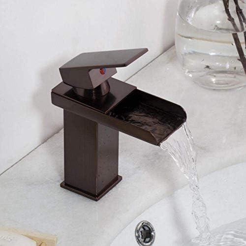 Zxyan 蛇口 立体水栓 タップタップ蛇口ニッケルブラシの浴室の洗面台の蛇口タップミキサーブラック滝クロームブラス水洗面ミキサータップ蛇口 トイレ/キッチン用