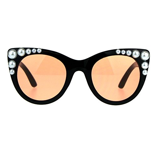 Womens Pearl Jewel Plastic Cat Eye Retro Sunglasses Black - Cat Pearl Eye