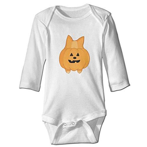 Moulton Mansfield Cute Halloween Corgi Pumpkin Unisex Baby Infant Long Sleeve Onesies Bodysuits Cotton