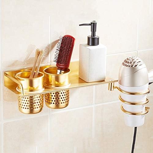 収納ラック棚 浴室用棚洗面所シャワー壁掛けコーナーヘアドライヤーダクトラックサクションウォールアルミ 家のホテルの装飾のため (色 : Gold)