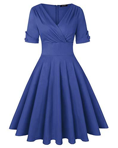 ROOSEY Women's 1950's Vintage Tea Dress Short Sleeve Round Neckline Retro Floral Cocktail Dress (Blue, -