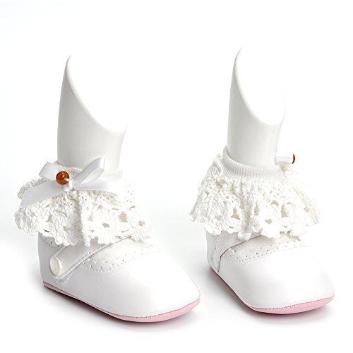 Estamico,Zapatos bebé niña primeros pasos, Zapatos y calcetines blancos del bautismo del bebé Blanco