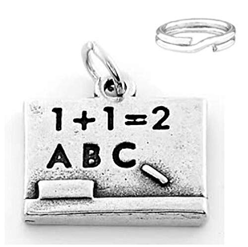 Sterling SilverChalk Board Charm with Split Ring Charms,Pendant and Bracelet by Easy to be happy
