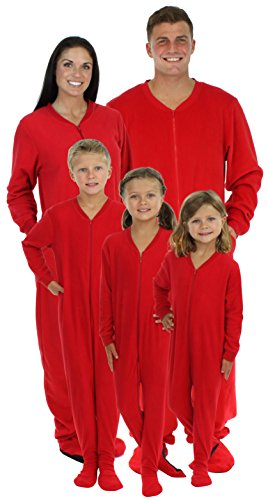 SleepytimePjs Family Matching Red Fleece Onesie Pjs Footed Pajamas for Family-Men (STM17-M-RED-2X) -