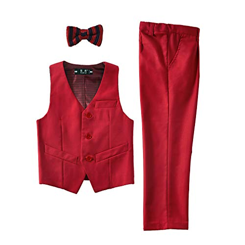 - YuanLu Kids Suits for Boys Girls Formal Vest and Pants Dress Suit Set Outfit Clothing Red Size 5