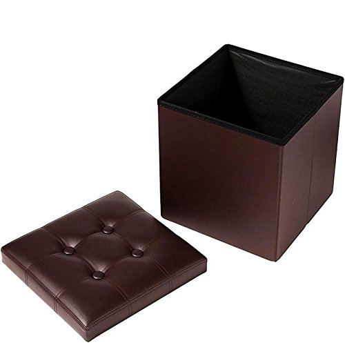 Azadx Faux Leather Folding Storage Ottoman Cube Foot Rest Stool Seat,Square Shape Surface with Line Footstool (Brown)